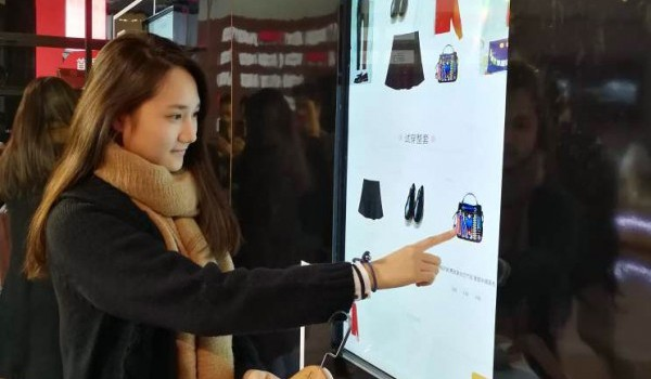 Girl doing virtual shopping